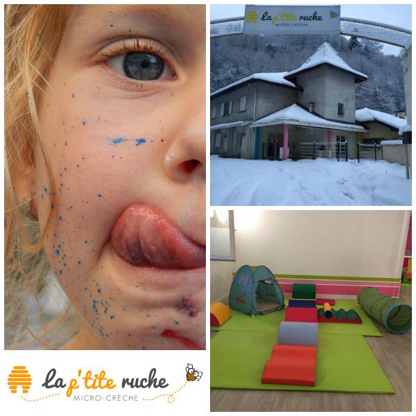enfant creche sous la neige espace motricité